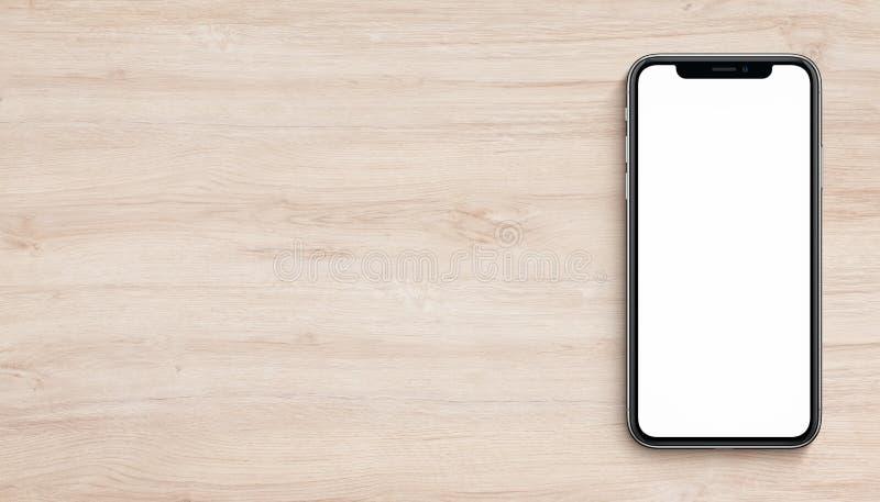 Smartphone mockup mieszkania odgórnego widoku nieatutowy lying on the beach na drewnianym biurowego biurka sztandarze z kopii prz obrazy stock