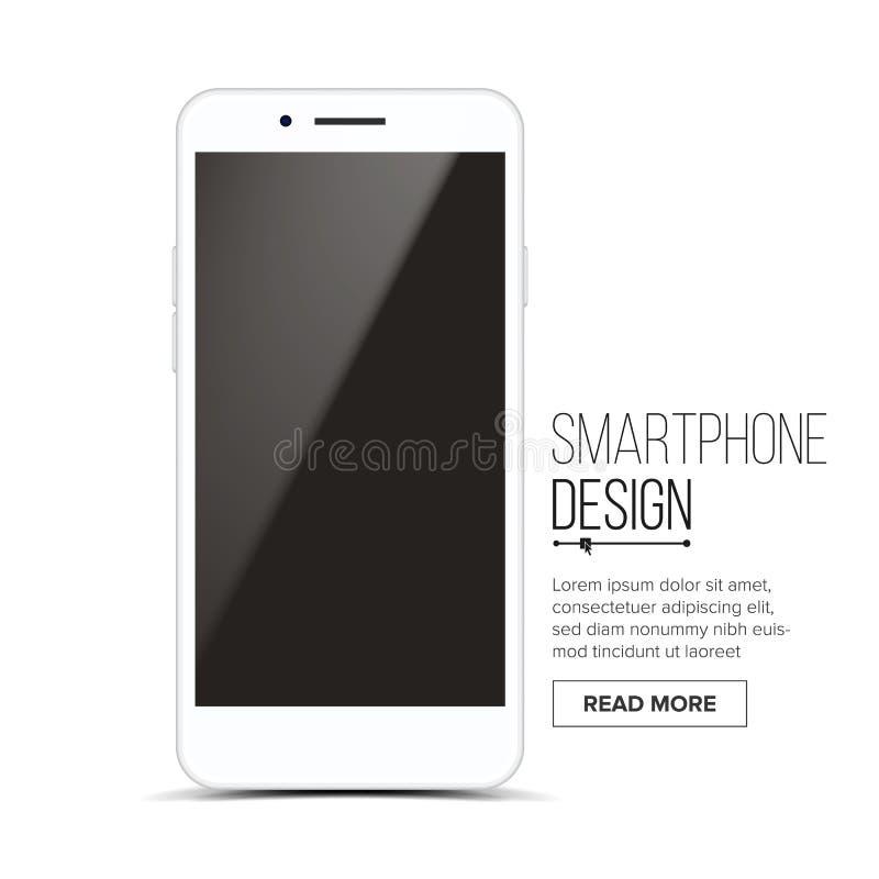 Smartphone Mockup projekta wektor Białego Nowożytnego Modnego telefonu komórkowego Frontowy widok pojedynczy białe tło Realistycz royalty ilustracja