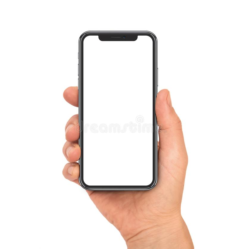 Smartphone with modern design and rounded blank screen stock images