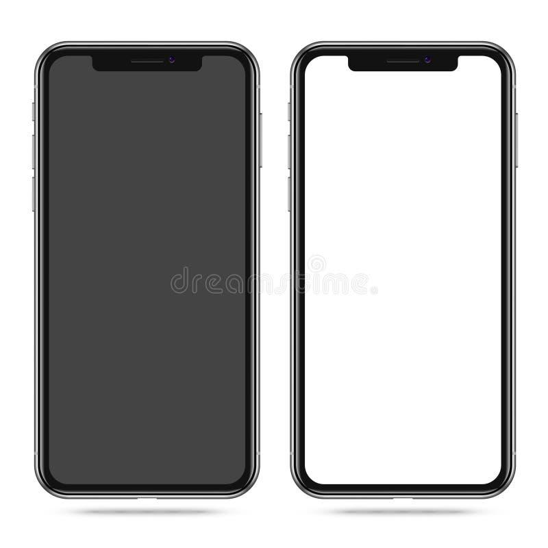 Smartphone moderne avec l'écran noir et blanc vide illustration de vecteur