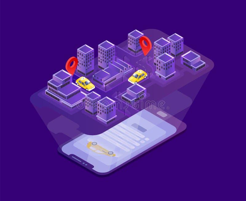 Smartphone moderne se trouvant sur la surface et projetant la carte de ville avec l'indication d'emplacement de voitures de taxi  illustration stock