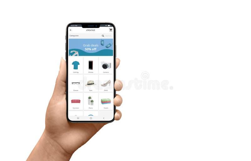Smartphone moderno aislado en mano de la mujer con el app plano de la tienda en línea del diseño foto de archivo