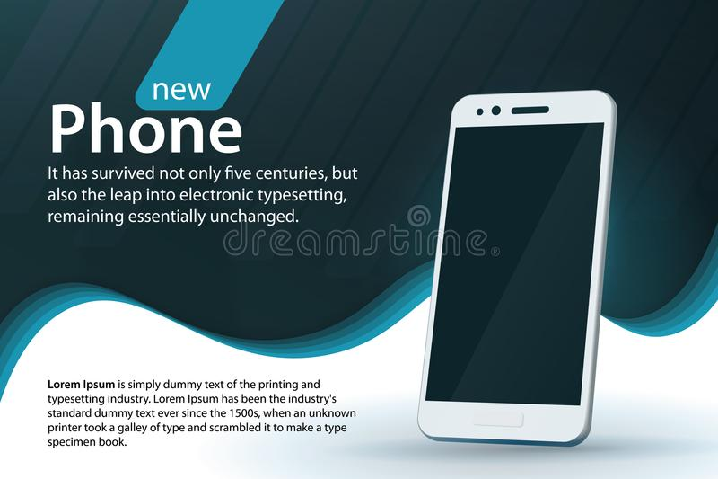 Smartphone moderno branco em um fundo cinzento Projeto da bandeira da venda e dos discontos Fundo moderno com um inclinação e uma ilustração stock