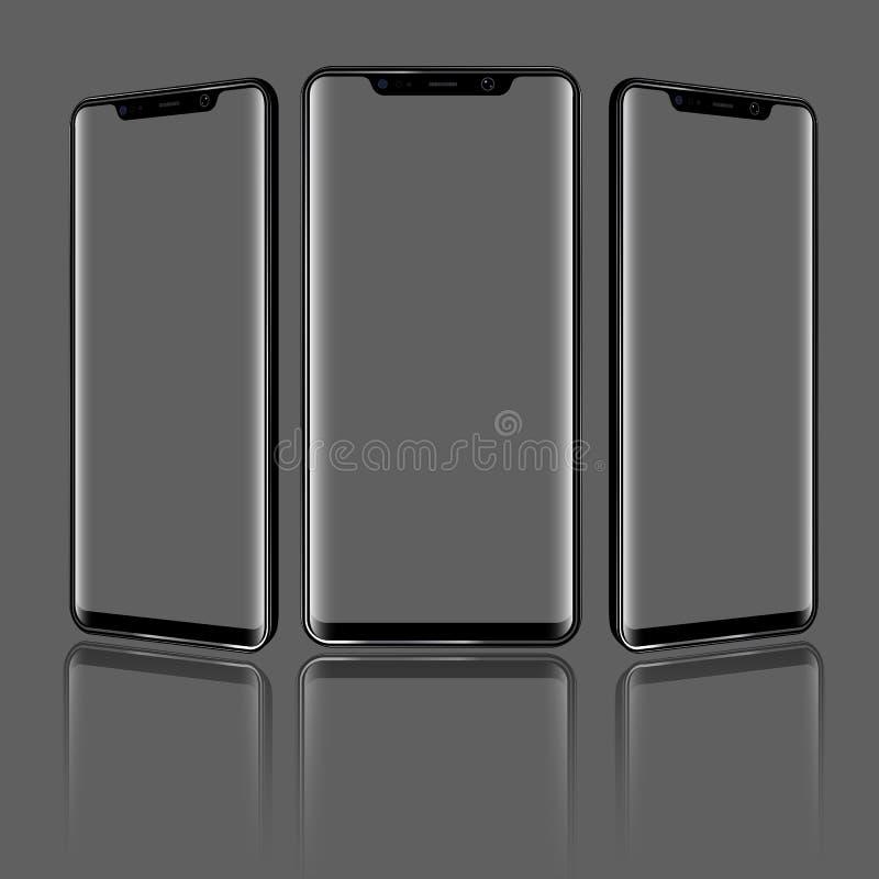 Smartphone moderno com ângulos de vista diferentes e de telas transparentes Ilustração detalhada alta do vetor ilustração royalty free