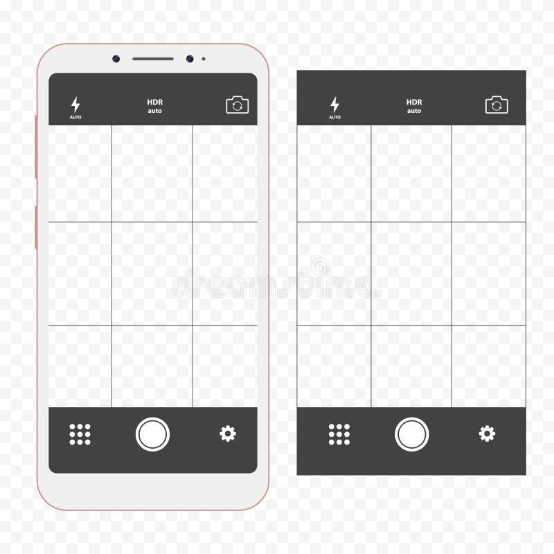 Smartphone moderno com aplicação da câmera Interface de utilizador do visor da câmera ilustração royalty free
