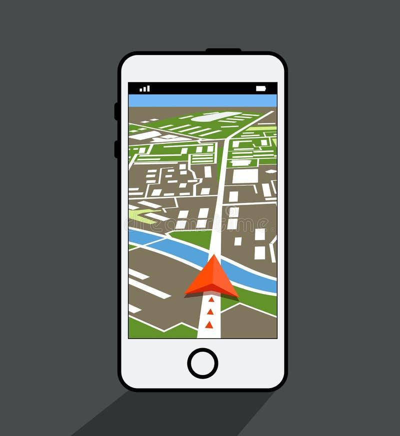 Smartphone moderno com aplicação da navegação ilustração do vetor