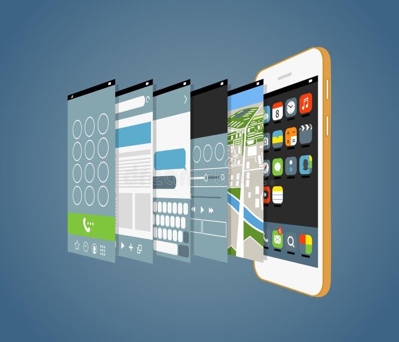 Smartphone moderno com as telas diferentes da aplicação ilustração royalty free