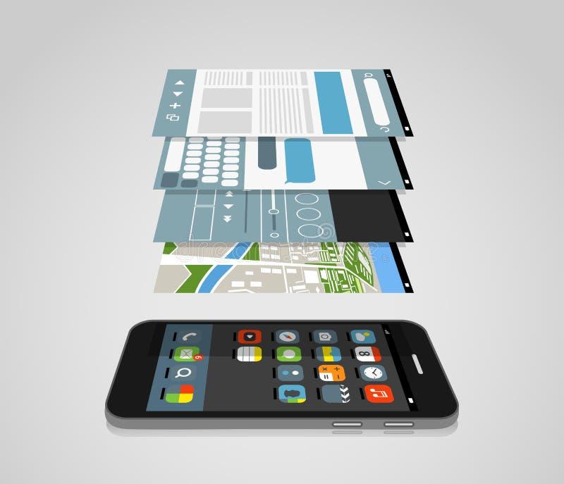 Smartphone moderno com as telas diferentes da aplicação ilustração do vetor