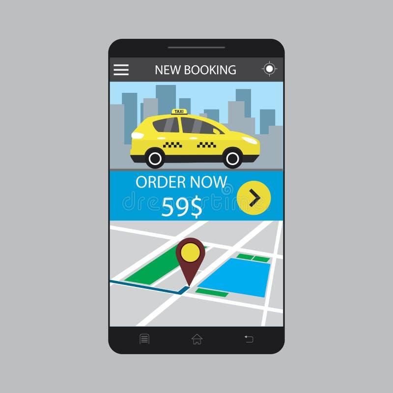 Smartphone moderno com serviço do app do registro do táxi na tela ilustração stock