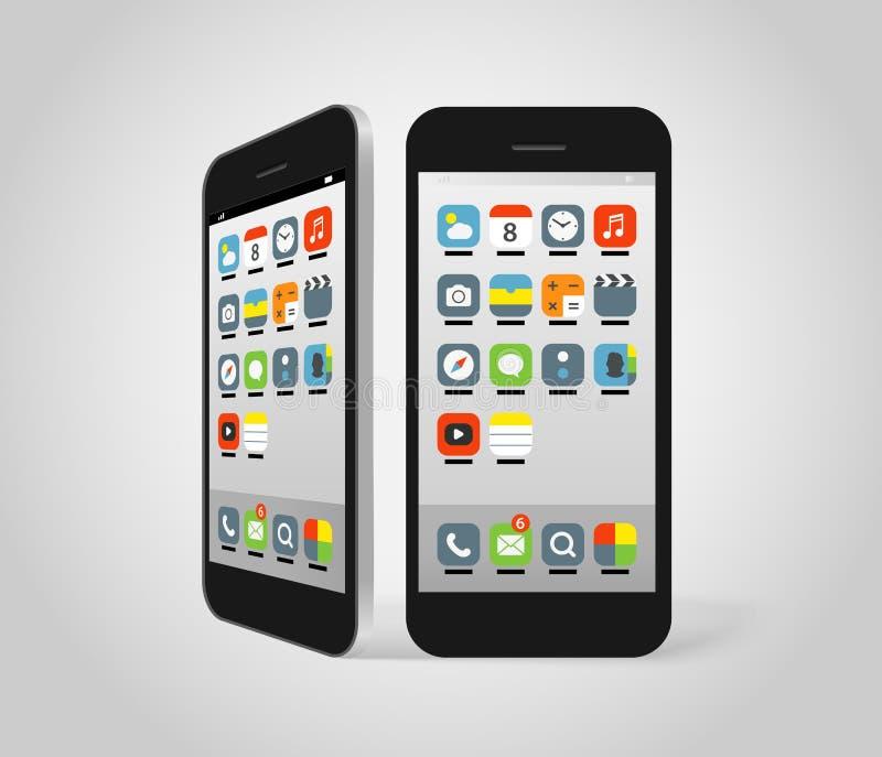 Smartphone moderno con diversos iconos del color stock de ilustración