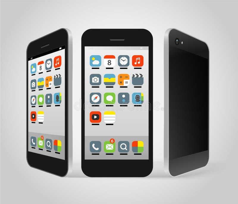 Smartphone moderno con diversos iconos del color ilustración del vector