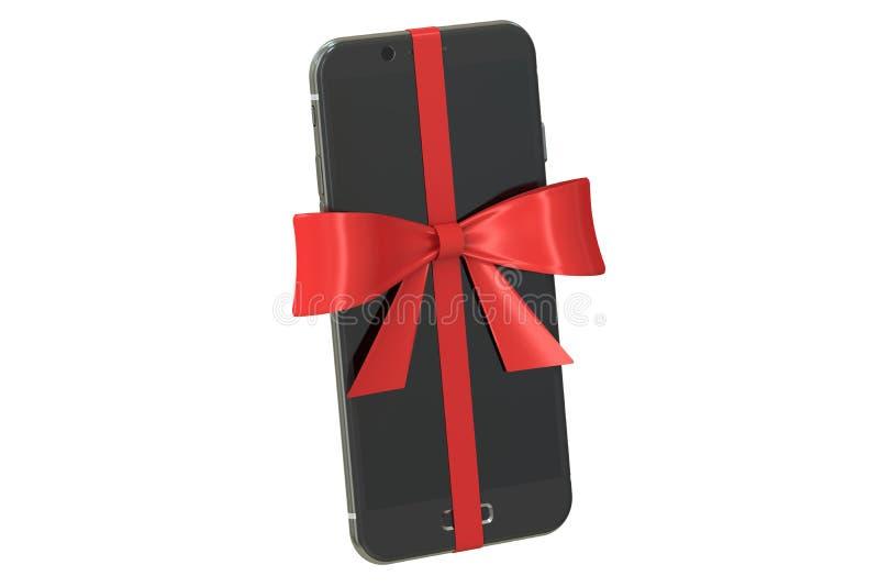 Smartphone moderno con el arco y la cinta, concepto del regalo renderin 3D stock de ilustración