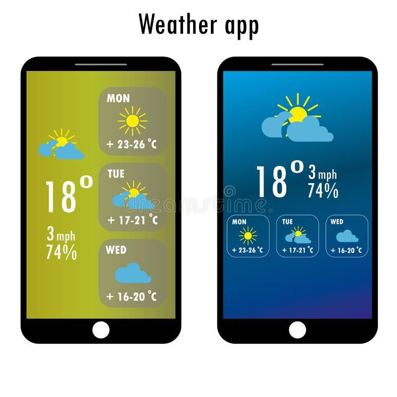 Smartphone moderno con tempo app royalty illustrazione gratis