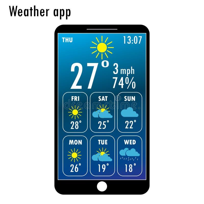 Smartphone moderno con tempo app sullo schermo illustrazione vettoriale