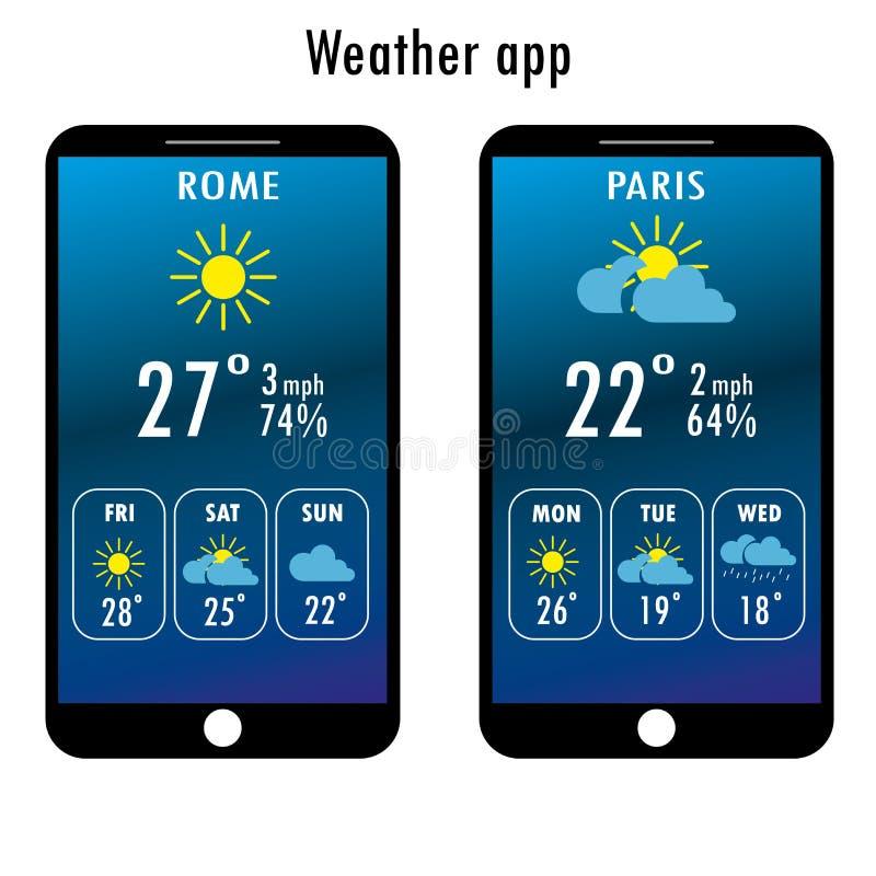 Smartphone moderno con tempo app sullo schermo illustrazione di stock