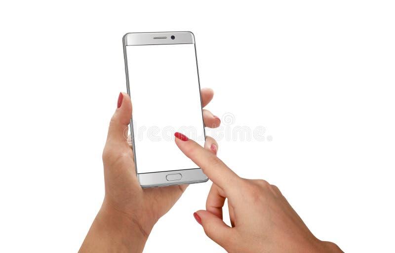 Smartphone moderno da exposição do toque da mulher imagens de stock royalty free