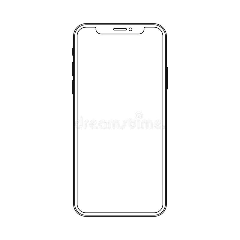 Smartphone moderno del profilo del disegno a tratteggio Linea sottile elegante progettazione del colpo di stile illustrazione vettoriale