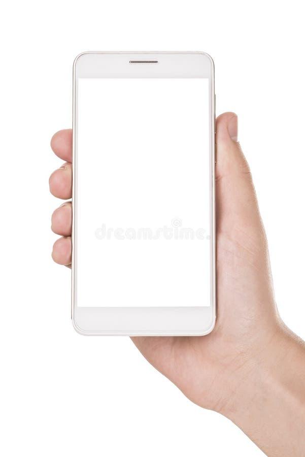 Smartphone moderno a disposición aislado en blanco imágenes de archivo libres de regalías
