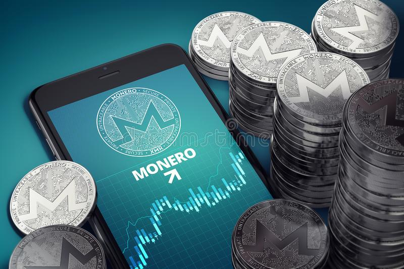 Vertical smartphone with Monero growth chart on-screen among piles of silver Monero coins. royalty free illustration