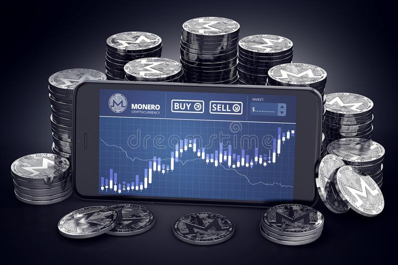Smartphone with Monero trading chart on-screen among piles of silver Monero coins. stock illustration