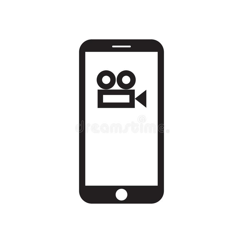 Smartphone with movie camera icon on the screen. Smartphone with movie / film / video camera icon on the screen. Filmmaking. Recording. Cinema. Mobile device vector illustration