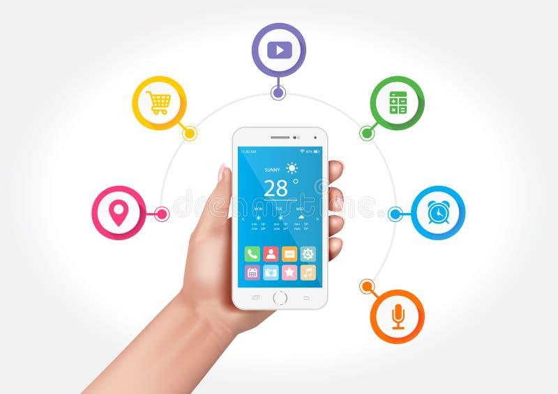 Smartphone multifuncional stock de ilustración