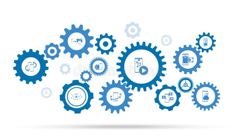 Smartphone multimedia application icon. From mobile concept set. On background with gears vector illustration