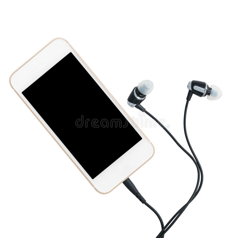 Download Smartphone Music Player And Earbuds Stock Photo - Image: 83705116