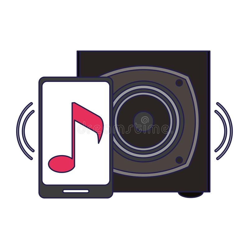 Smartphone with music and speaker vector illustration