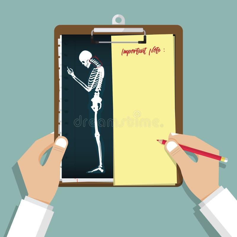 Smartphone nałóg Infographic w płaskim projekcie Schowek w doktorskiej ręce Medyczny i opieka zdrowotna raport ilustracji