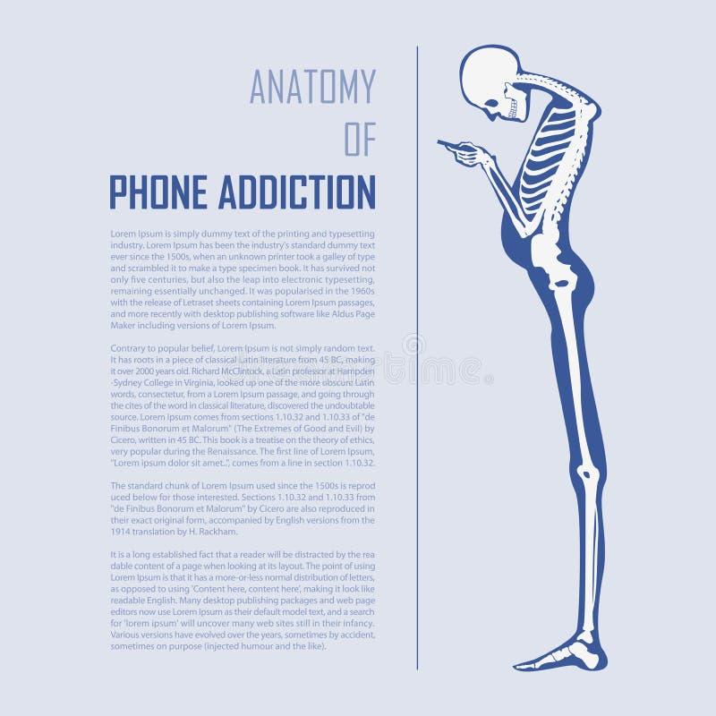 Smartphone nałóg Infographics w płaskim projekcie anatomii tła kość barwi odizolowywającą szczegółową harmoniczną ludzką ilustrac ilustracja wektor