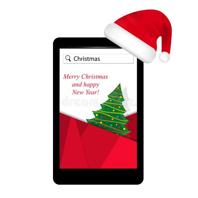 Smartphone na árvore de Natal vermelha do chapéu de Santa Claus na tela Anos novos do dispositivo atual, tecnologia móvel Vetor ilustração stock