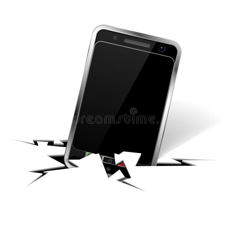 Smartphone na rachadura ilustração royalty free