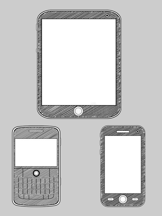 Smartphone Nakreślenie ilustracja wektor