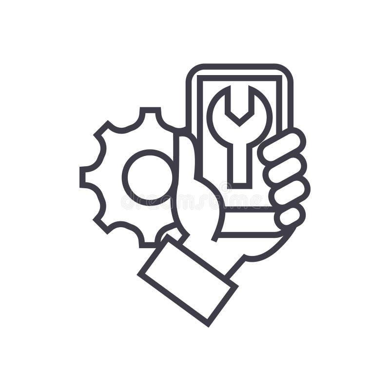Smartphone naprawia pojęcie wektoru cienką kreskową ikonę, symbol, znak, ilustracja na odosobnionym tle ilustracja wektor