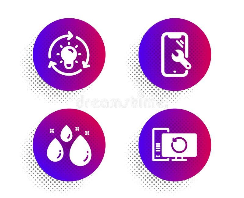 Smartphone naprawia, wody kropla i pomysł ikony ustawiać, Wyzdrowienie komputeru znak Telefonu wyzdrowienie, Aqua, Lightbulb wekt royalty ilustracja