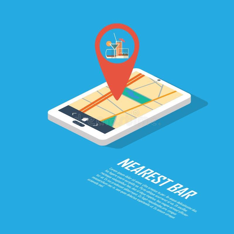 Smartphone-Navigation im modernen flachen Design mit a lizenzfreie abbildung