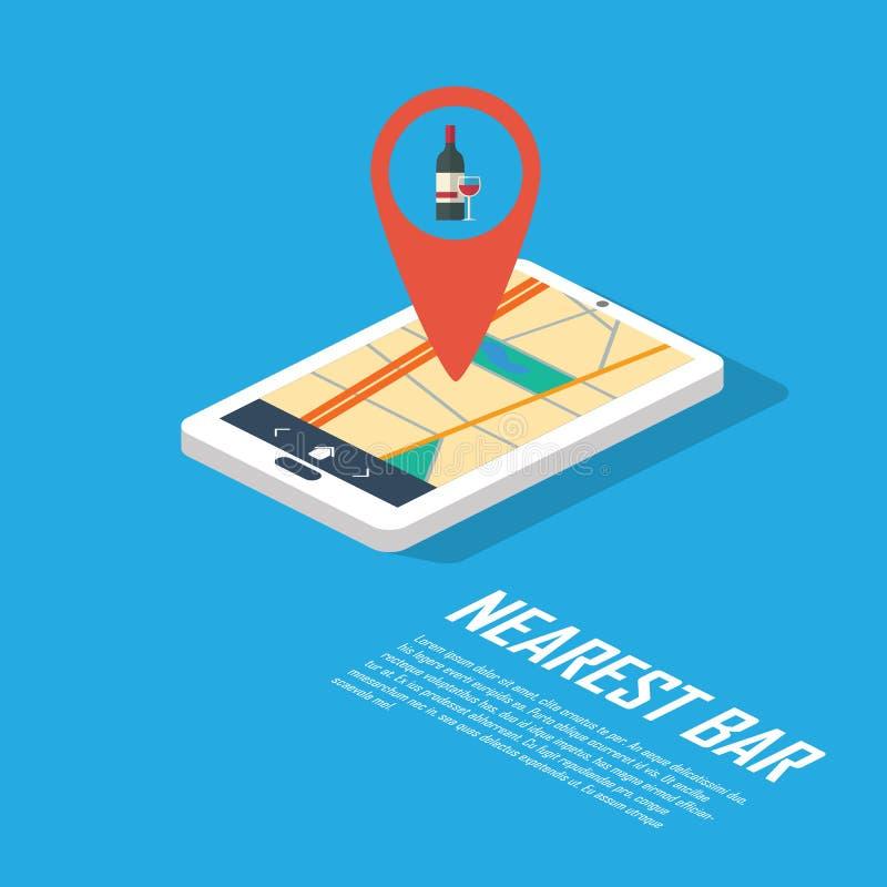 Smartphone-Navigation im modernen flachen Design mit einem Symbol des Trinkens, Kneipe, Club, Bar stock abbildung
