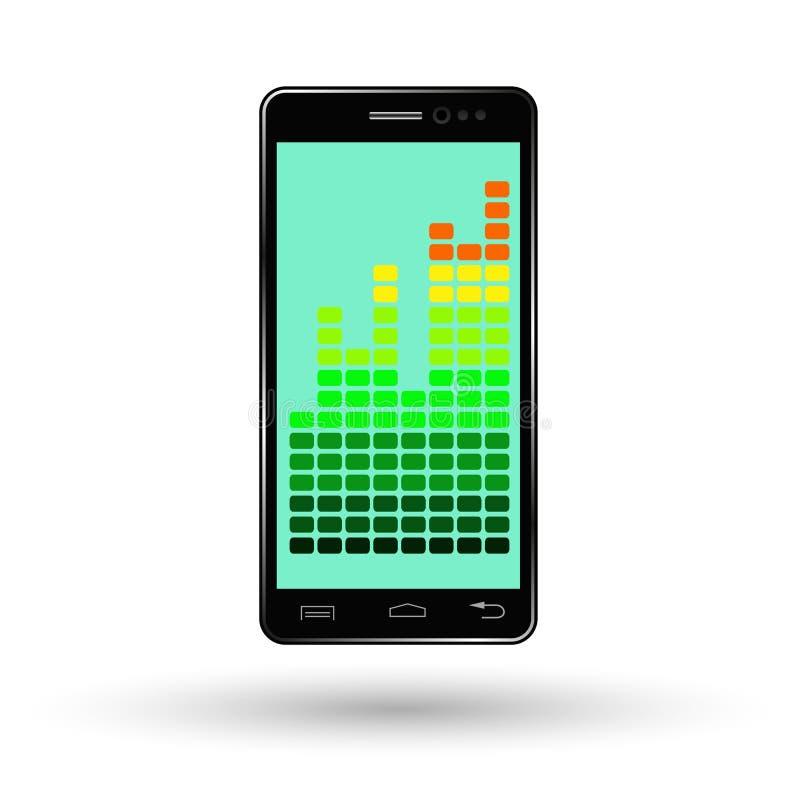 Smartphone negro con el fondo con horario del aumento de beneficios, teléfono móvil del verde azul ilustración del vector