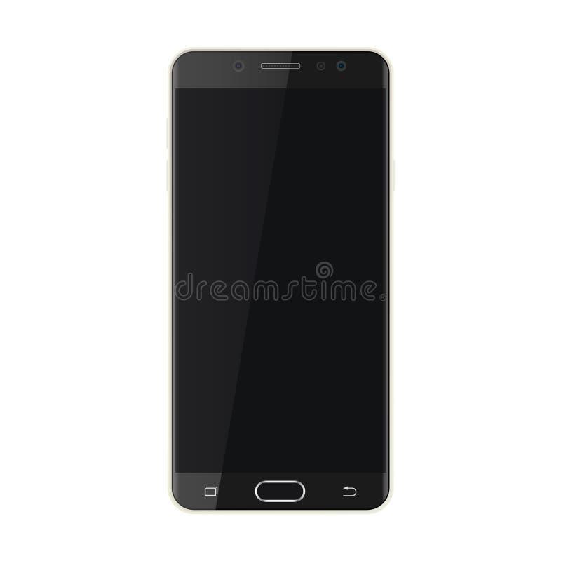 Smartphone negro con el vector negro eps10 de la pantalla Smartphone realista con el icono negro de la pantalla stock de ilustración