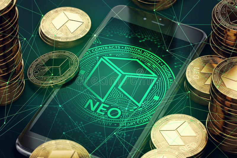 Smartphone with NEO symbol on-screen among piles of golden NEO coins vector illustration