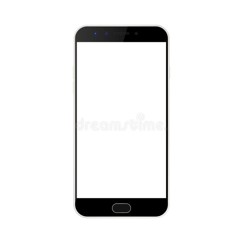 Smartphone nero con il bottone del menu e della macchina fotografica e lo schermo vuoto bianco con un abbagliamento vettore nero  illustrazione vettoriale