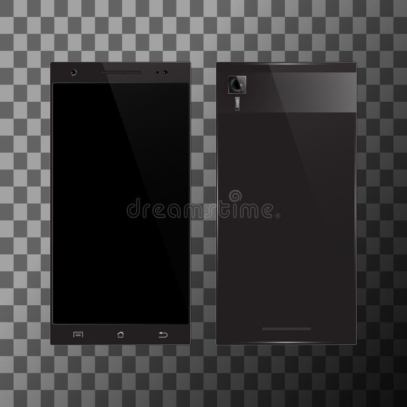 Smartphone nero con lo schermo in bianco illustrazione di stock
