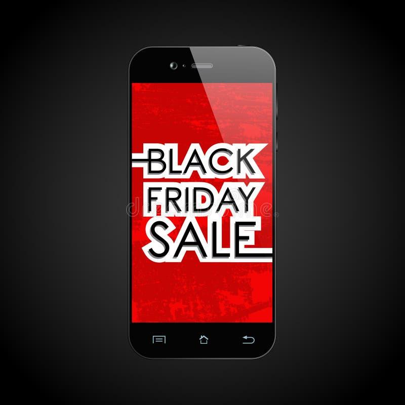 Smartphone nero di vendita di venerdì illustrazione di stock