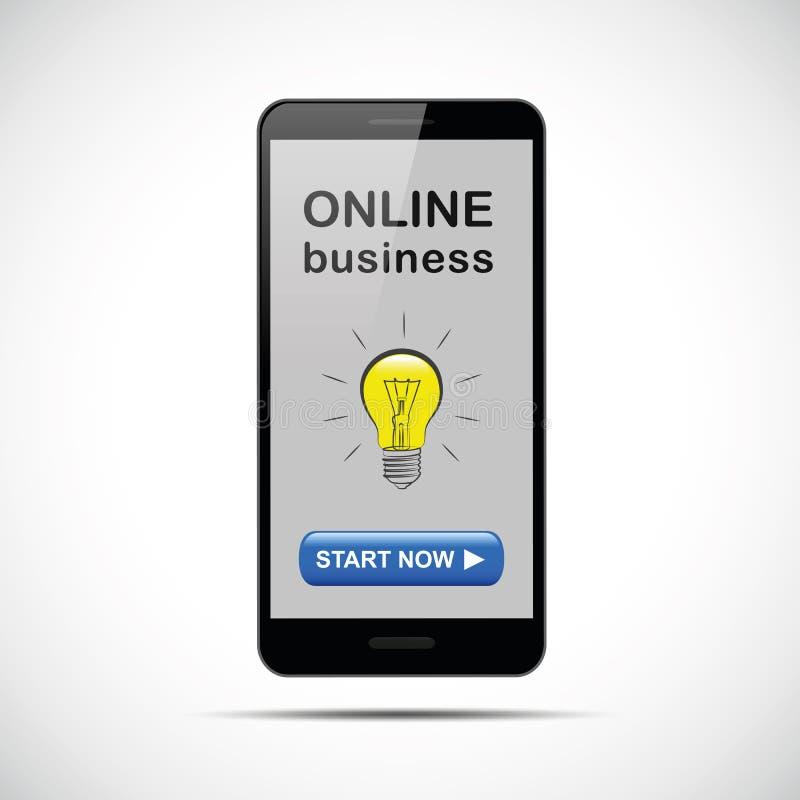Smartphone noir avec la lampe en ligne d'idée d'affaires illustration stock