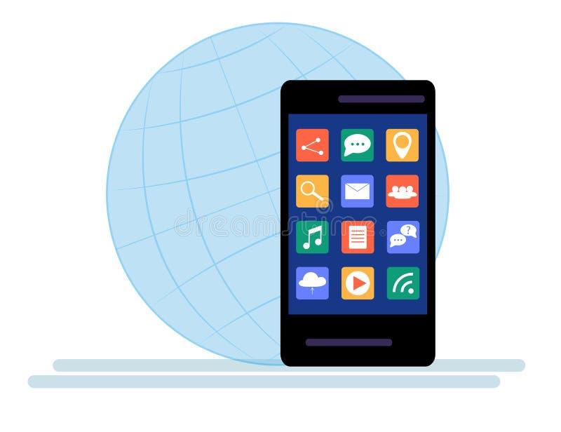 Smartphone noir avec le nuage des icônes d'application d'isolement sur le fond blanc illustration de vecteur