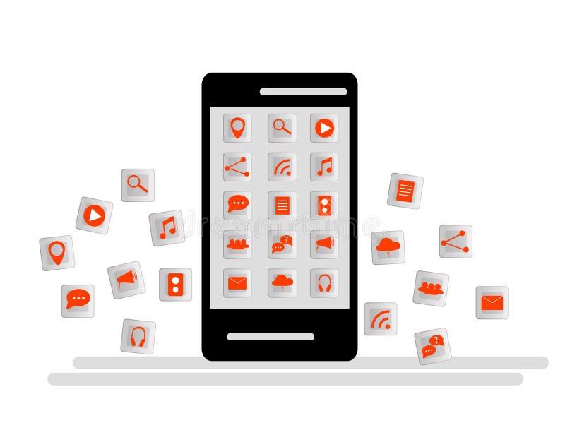 Smartphone noir avec le nuage des icônes d'application et des icônes d'Apps volant autour de elles, d'isolement sur le fond blanc illustration libre de droits