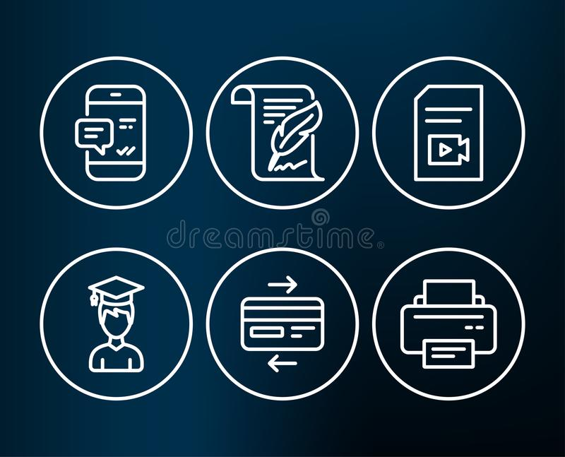 Smartphone notification, Video file and Student icons. Feather, Credit card and Printer signs. royalty free illustration