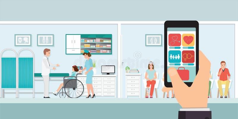 Smartphone nowatorski medyczny app z szpitalem royalty ilustracja