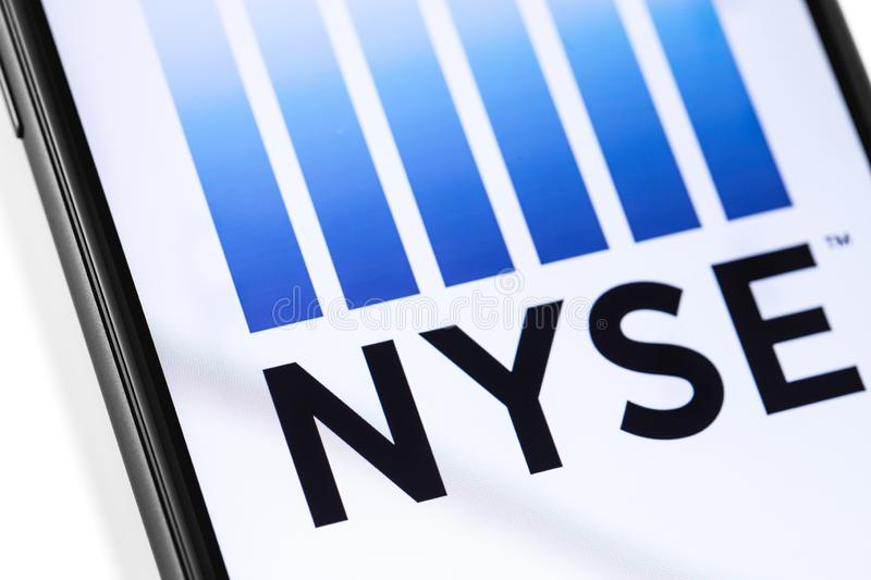 NYSE logo on the screen. Smartphone with NYSE logo on the screen. NYSE New York Stock Exchange is an American stock exchange. Moscow, Russia - March 17, 2019 stock image